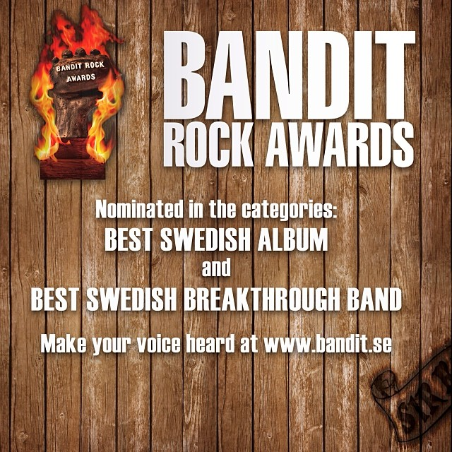 Don't forget to vote for us everyday at the Bandit Rock Awards! We're nominated in two categories: Best Swedish album and Best Swedish breakthrough band. Vote here: http://rockawards.bandit.se/vote #banditrockawards