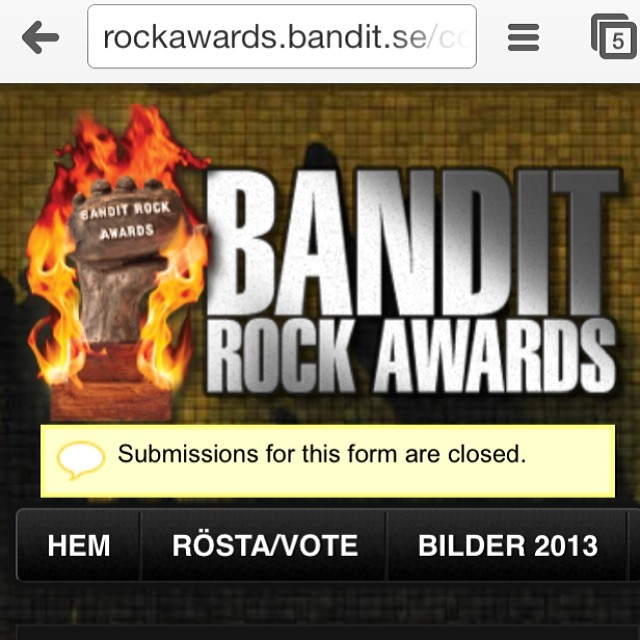 That's it! Now it's up to The higher powers...(read MTG / @banditrock ). Thank you for allowing me to spam about this!!! I promise to make my Insta/Facebook/twitter flow more interesting from now on ;) #banditrockawards #sirreg #nervousasfuck