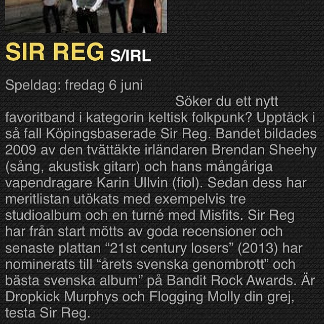 Download the #swedenrockfestival app and keep track of who's playing and when. This is their description of us. Accurate? :) #sirreg #swedenrock #app #appstore