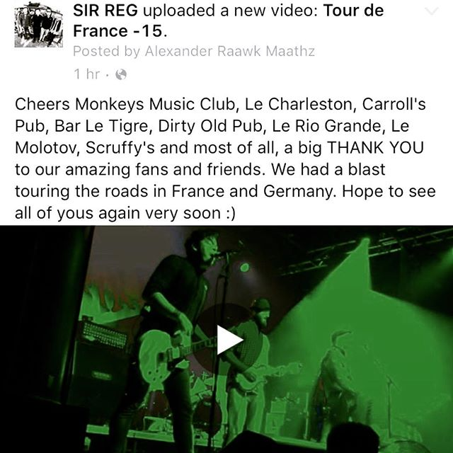 Cheers Monkeys Music Club, Le Charleston, Carroll's Pub, Bar Le Tigre, Dirty Old Pub, Le Rio Grande, Le Molotov, Scruffy's and most of all, a big THANK YOU to our amazing fans and friends. We had a blast touring the roads in France and Germany. Hope to see all of yous again very soon :) #sirregband #sirreg #tour15 #celticpunk #celtic #punk #france #germany #friends #video